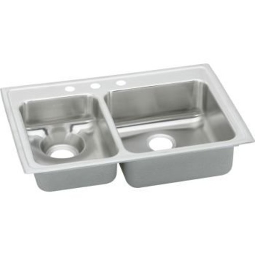 Elkao|#Elkay LWR3322L5 18 Gauge Stainless Steel 33 Inch x 22 Inch x 7.625 Inch Double Bowl Top Mount Kitchen Sink, Small Bowl On Left, 5 Faucet Holes,