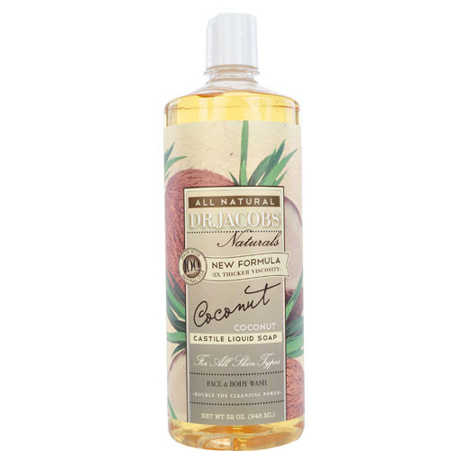 Dr. Jacobs Naturals Liquid Castile Soap Face & Body Wash Coconut -- 32 fl oz