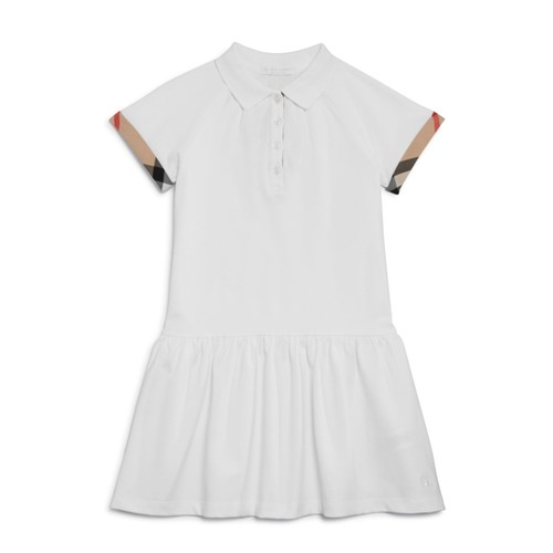 BURBERRY Girls' Piqué Drop-Waist Dress - Big Kid