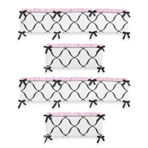 Sweet Jojo Designs Princess 4-Piece Crib Bumper in Black/White/Pink
