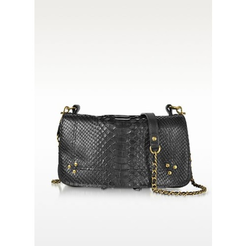 Bobi Black Python Leather Shoulder Bag