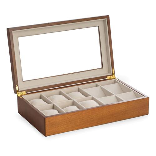 Bey-Berk Cherry Wood Watch Storage Box