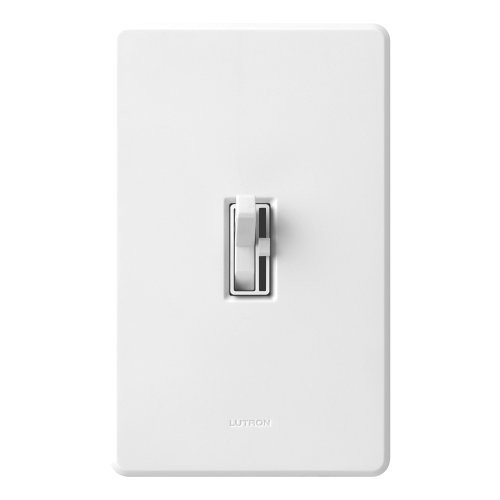 Lutron Toggler C.L Dimmer for dimmable LED, Halogen and Incandescent Bulbs, Single-Pole or 3-Way, TGCL-153PH-WH, White