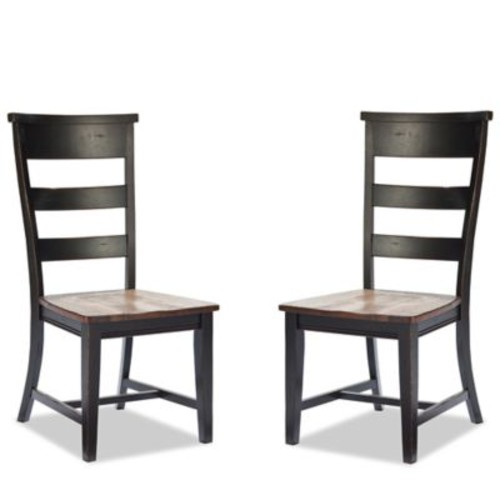 Intercon Furniture Winchester Ladder Back Side Dining Chairs in Black/Honey Nut (Set of 2)