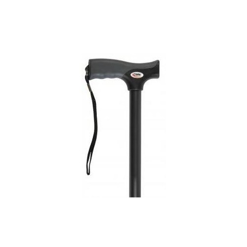 Carex Soft Grip Derby Cane, Black, Height Adjustable Designer Cane with Wrist Strap and Latex-Free Soft Cushion Handle [Black]
