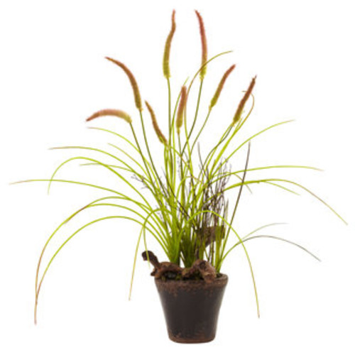 Nearly Natural Artificial Plants Swampy Cattail Garden Planter