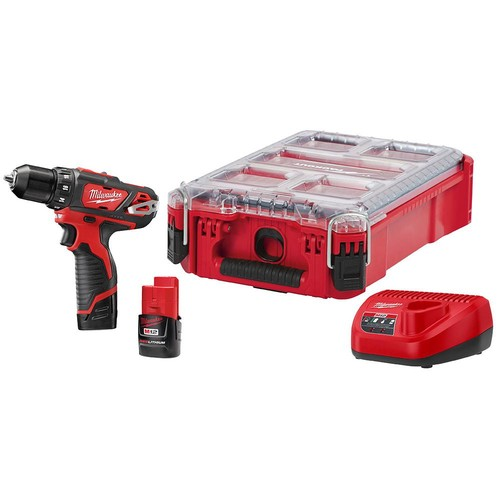 Milwaukee M12 12-Volt Lithium-Ion 3/8 in. Cordless Drill/Driver Kit with Pack-Out Case and Two 1.5 Ah Batteries and Charger