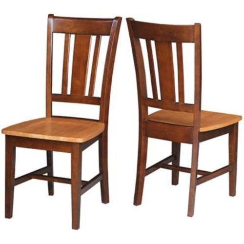 August Grove Malcolm Slat Back Side Chair (Set of 2); Cinnamon/Espresso
