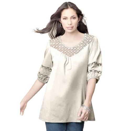 Jessica London Plus Size Tunic Top With Crochet Trim Ivory,12