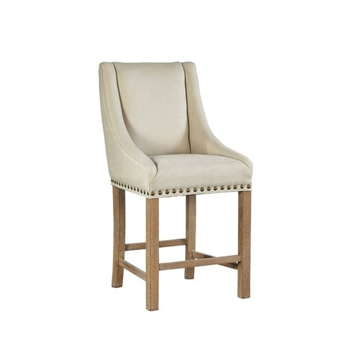 Sutherland Linen Counter Stool with Nail-Head trim
