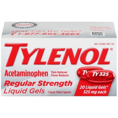 Tylenol Regular Strength Liquid Gels, 20 Count