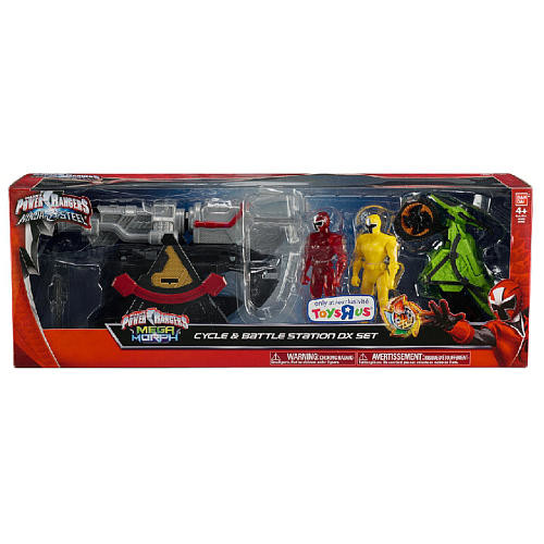 Power Rangers Ninja Steel and Mega Morph Cycle and Battle Station DX Set - Red and Yellow Ranger