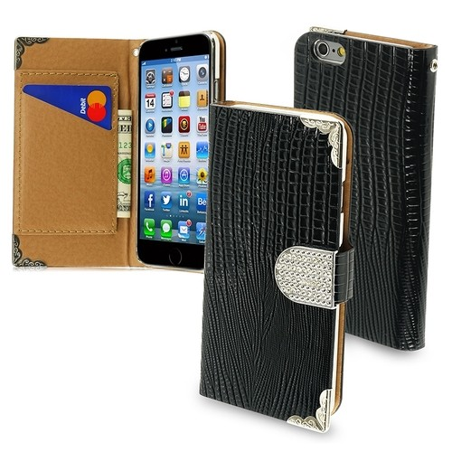 Insten - Folio Flip Crocodile Skin Leather Wallet Flap Pouch Case Cover With Diamond For Apple iPhone 6 - Black/Silver
