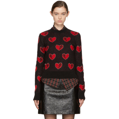 SAINT LAURENT Red & Black Heart & Lightning Sweater