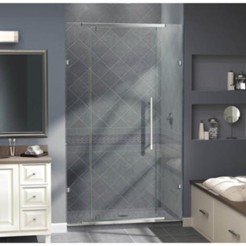 Aston Soleil 60 in x 75 in Completely Frameless Hinge Shower Door in Chrome with Glass Shelves [SDR983-CH-60-6; Chrome]