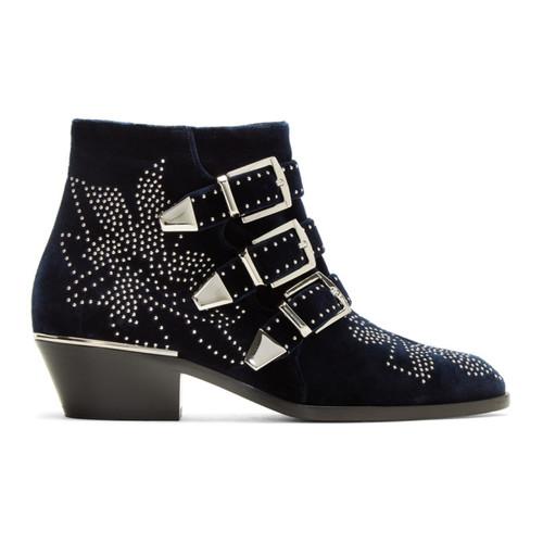 CHLOÉ Navy Velvet Susanna Boots