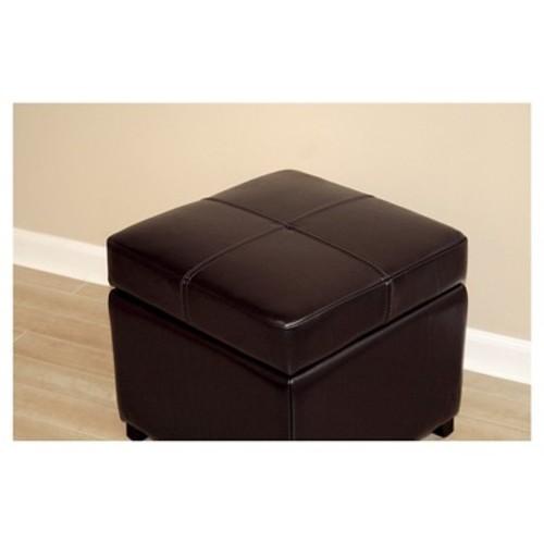 Baxton Studio Full Leather Storage Cube Ottoman