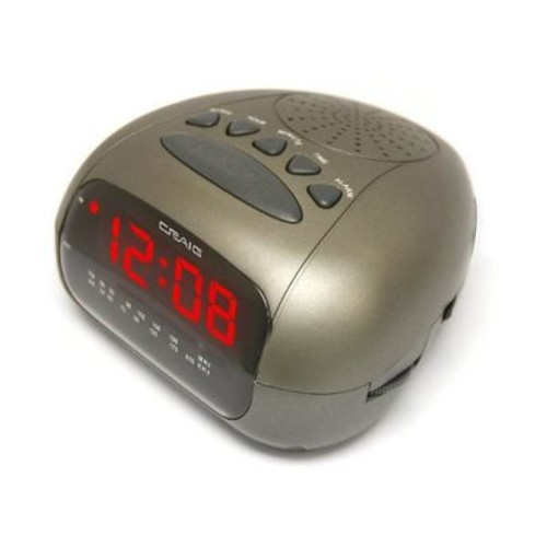 Craig CR45329B Dual Alarm Clock Digital PLL LED AM/FM Radio, Black