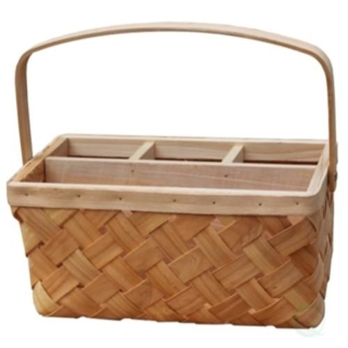 Natural Woodchip Picnic Flatware Serving Caddy Basket