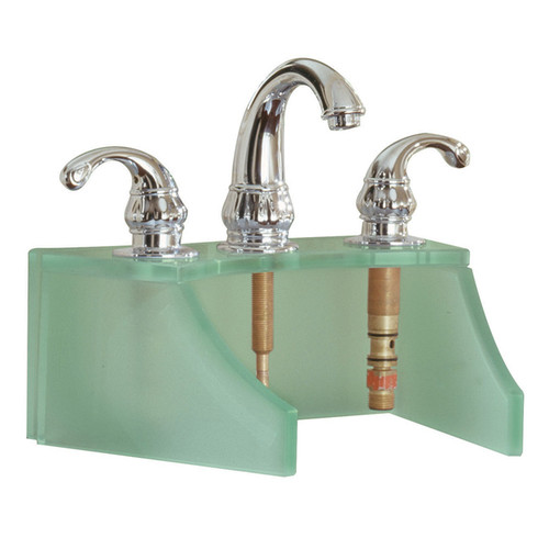 Tempered Glass Frosted Green Faucet Stand