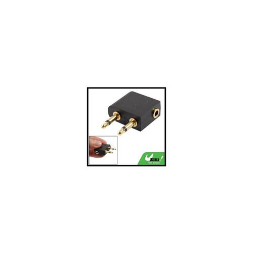 3.5mm Female Jack to Dual Male Plug Audio Splitter Connector Adaptor Black