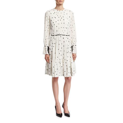 3.1 PHILLIP LIM Snowbird-Print Pintuck Dress W/ Silk Ties, White