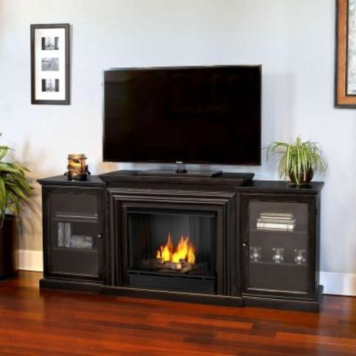 Real Flame Frederick Entertainment 72 in. Media Console Ventless Gel Fuel Fireplace in Blackwash