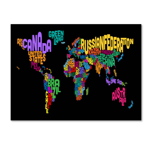 Trademark Global Michael Tompsett 'World Text Map 4' Canvas Art [Overall Dimensions : 30x47]