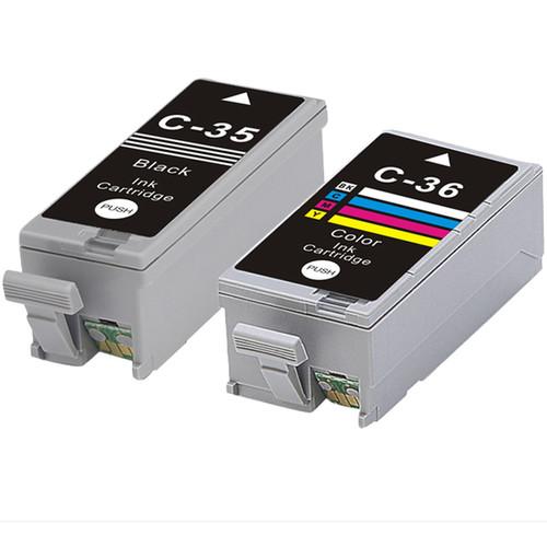 Canon PGI35 + CLI36 (Black+Color) Compatible Inkjet Cartridge (Remanufactured) (Pack of 2)