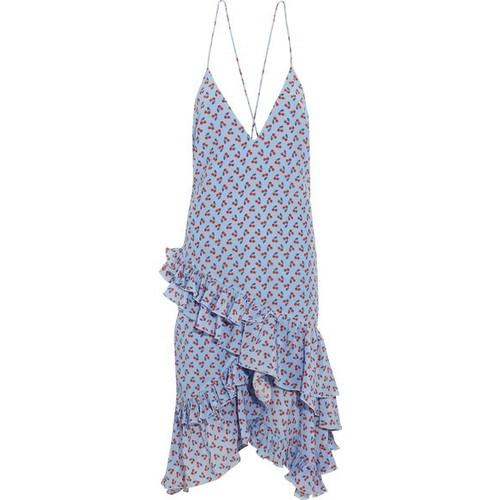 ALTUZARRA Corona Ruffled Printed Silk Dress