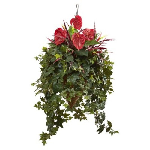 Mixed Anthurium Hanging Basket - Nearly Natural