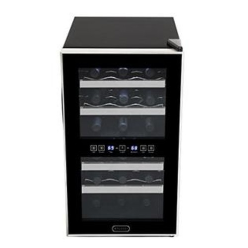 Whynter WC-181DS 18 Bottle Dual Zone Touch Control Wine Cooler - Black with Stainless Steel Trim