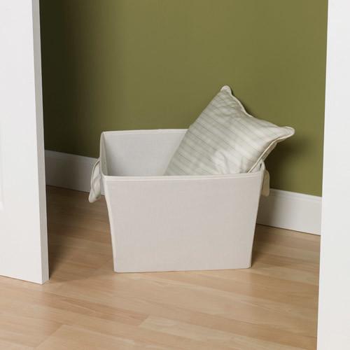 Household Essentials Medium Tapered Fabric Storage Bin with Handles, Natural Canvas: Home & Kitchen [Medium Bin]