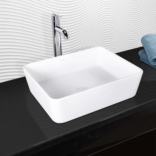 VIGO Sirena Matte Stone Vessel Sink and Seville Bathroom Vessel Faucet in Chrome