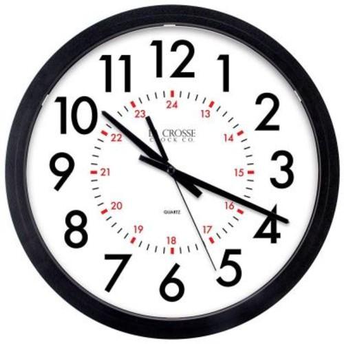 La Crosse Technology 14 in. W x 14 in. H Info-Tech Black Round Commercial Analog Wall Clock