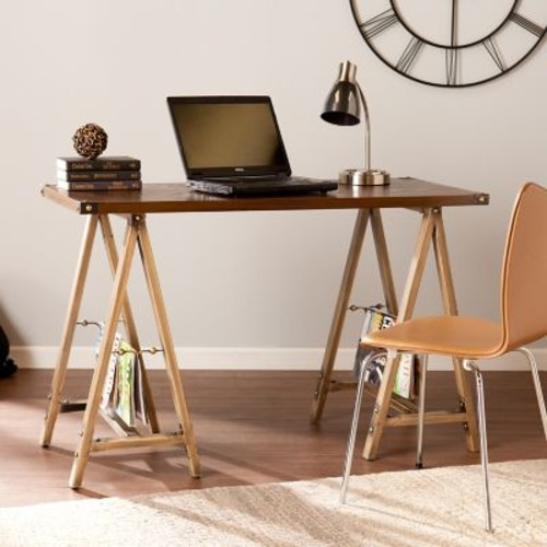 SEI Downing Sawhorse Desk - Weathered Oak (HO7308)