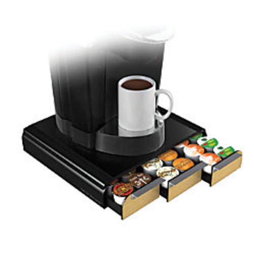 Mind Reader Anchor Coffee Pod Triple Drawer, 36-Pod Capacity, Wood Veneer/Black
