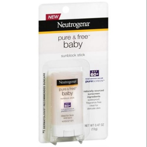 Neutrogena Pure & Free Baby Sunscreen Stick SPF 60+ 0.47 oz (Pack of 6)