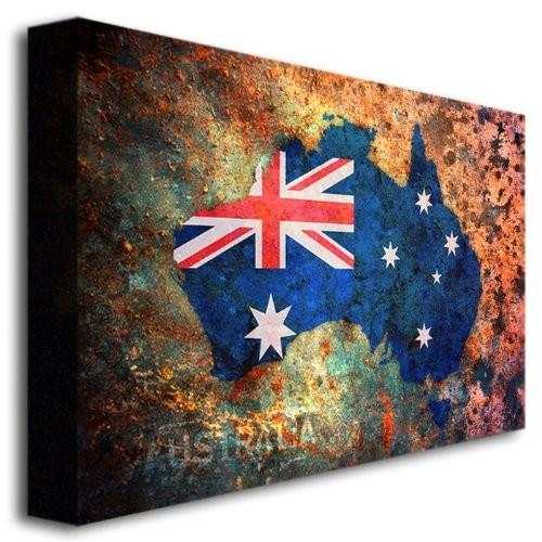 Australia Flag Map by Michael Tompsett, 16x24-Inch Canvas Wall Art [16 by 24-Inch]