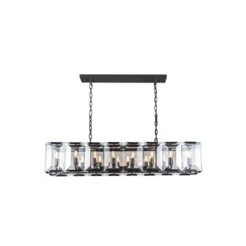 Elegant Lighting Monaco 16-Light Flat Black Matte Glass Crystal Clear Pendant