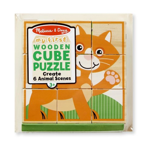 Melissa & Doug Animal Scenes My First Wooden Cube Puzzle - 9 piece