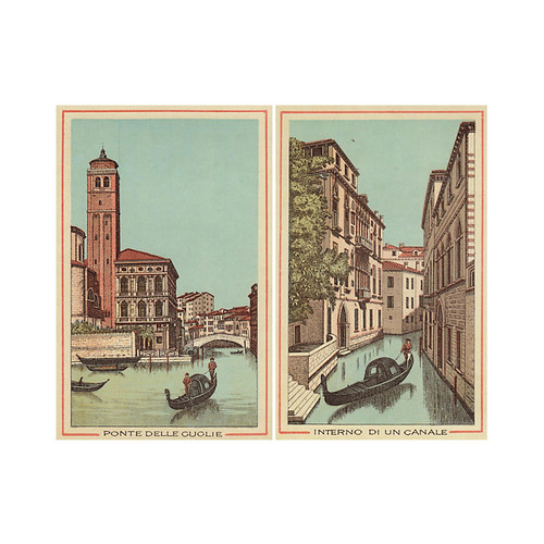 Views of Canals in Venice, Pair