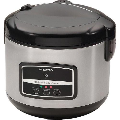 Presto 05813 16-Cup Digital Stainless Steel Rice Cooker/Steamer [Stainless Steel, each]