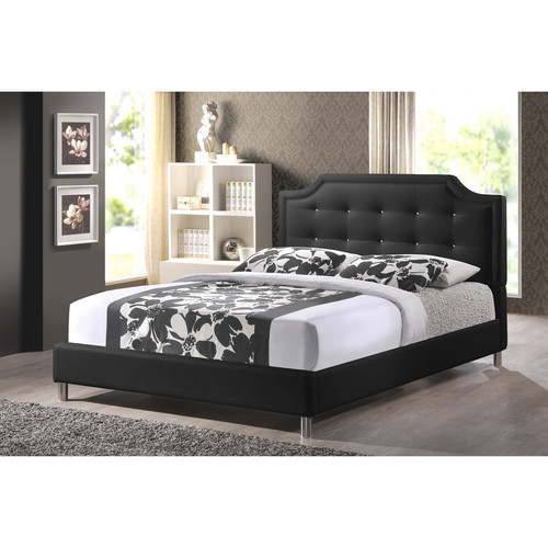 Baxton Studio Carlotta Black Modern Bed with Upholstered Headboard - Full Size
