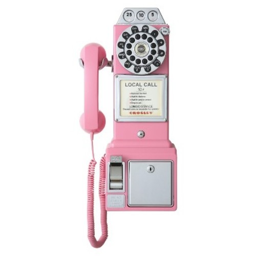 Crosley CR56-PI 1950's Payphone with Push Button Technology, Pink [Pink]