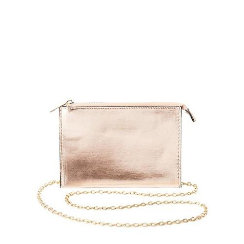 Metallic Chain Strap Crossbody Bag