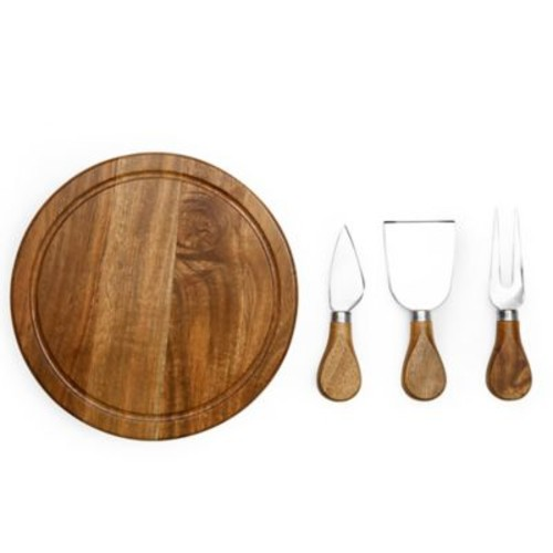 Picnic Time Acacia Brie Cheese Board Set in Brown