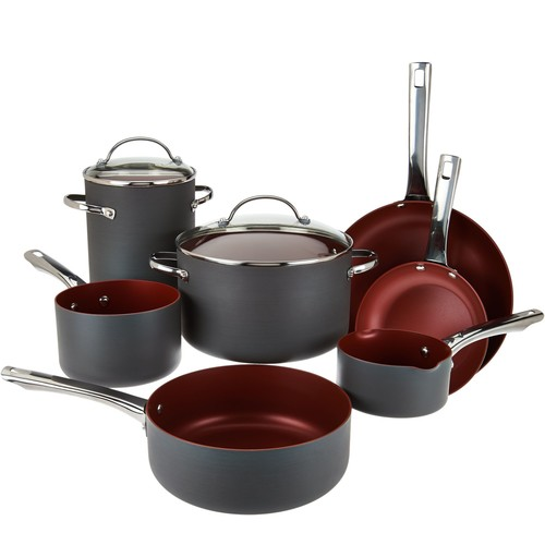 Cook's Essentials 10pc Non-Stick Hard Anodized Cookware Set