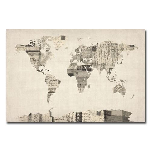 Trademark Global Michael Tompsett 'Vintage Postcard World Map' Canvas Art [Overall Dimensions : 30x47]