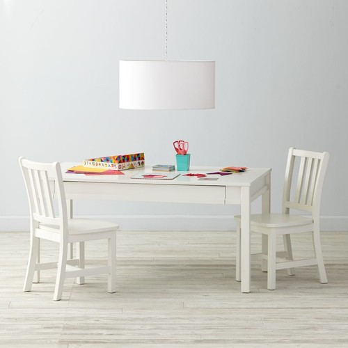 Adjustable White Activity Table & Play Chairs Set
